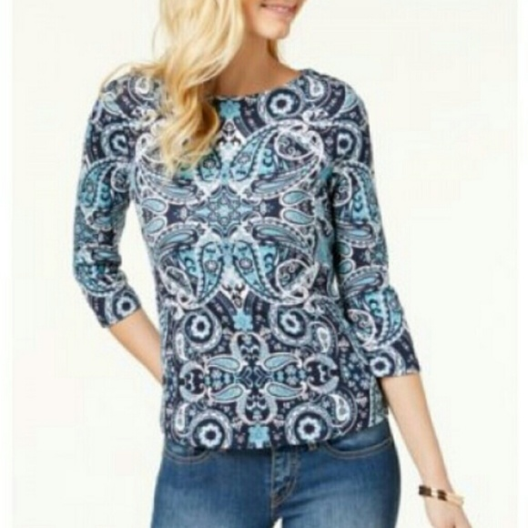 CHARTER CLUB PLUS SIZE TOP PIMA ANGEL BLUE WOMENS SIZE 2X NEW WITH TAGS